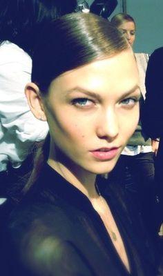 Karlie Kloss backstage at Dior
