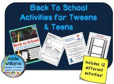 Back To School Activities for Tweens and Teens! 12 different writing activities included. ($) #middleschool #backtoschool