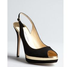 Jimmy Choo black suede and gold leather 'Frosting' slingback pumps