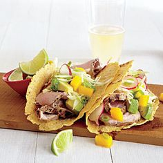Pork Tacos with Mango Slaw | CookingLight.com #myplate #protein #fruit #vegetables