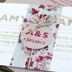 A vintage floral and kraft invitation suite by Ruby & Willow