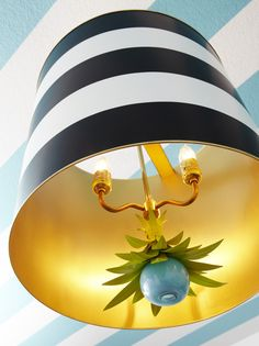 Black and White Striped Pendant Light