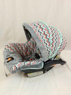 Chevron Boy with Silver Minky Custom Infant Car Seat Cover, Custom Chico Keyfit Infant. $149.95, via Etsy.