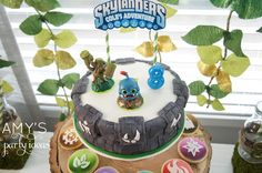 skylanders birthday party ideas portal of power cake, Skylanders Giants Birthday Party Ideas & Games | @AmysPartyIdeas #SkylandersGiants #party #DIY #Skylander #Birthday #dessert table #supplies
