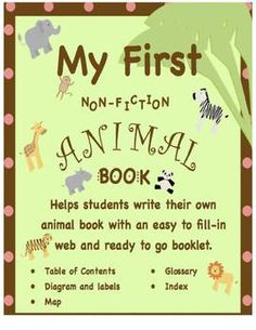 Nonfiction writing for beginners with animal web starter and book-$1.00