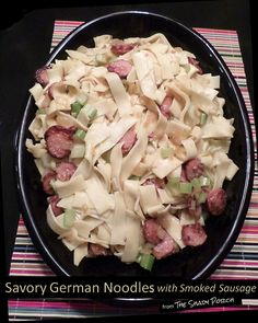 Savory German Noodles with Smoked Sausage  -  a new favorite at our house. So delicious...loved the tangy flavor of the sauce.