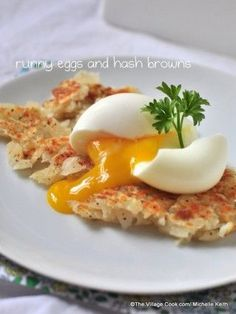 hard boiled eggs with a soft center over hash browns