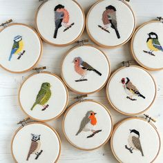 Cross stitch bird patterns by The Hawthorn Tree. Pictured are birds from Britain and Europe. All patterns available as instant downloads.