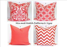 CORAL Pillows.ALL SIZES.Decorator Pillow by ElemenOPillows on Etsy, $14.00