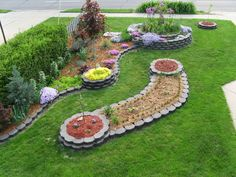These are good instructions for making a raised bed with bricks, but this design is way too structured for my cottage garden style preference. I like the long fence design that swirls around to end with a circle filled with flowers. I could put Iris and other tall flowers in that.