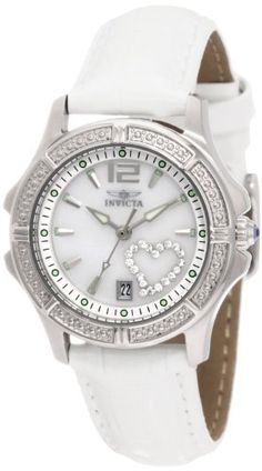 Invicta Women's 1029 Mother-Of-Pearl Dial with Interchangeable Leather Straps Watch Invicta. $89.99. Flame-fusion crystal; Brushed and polished stainless steel case; White patent leather strap with alligator pattern. Date function. Mother-Of-Pearl dial with silver tone hands, hour markers and arabic numeral 12; Luminous; Crystal outlined heart on dial; Blue cabochon on crown; Mauve, black, pearl beige and pearl grey interchangeable shiny leather straps included...