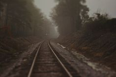 Train Track Photo Foggy Landscape Quiet Moody by BitsofLifeImages, $30.00