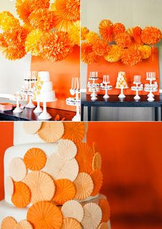 wedding ideas, paper pom poms, orange weddings, orange party, wedding colors