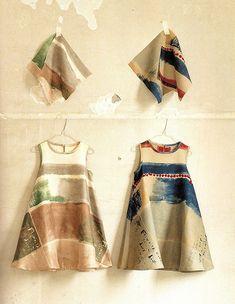 painterly trapeze dresses little girls, sewing projects, dress shapes, fabric painting, dresses, fabric design, textil, nani iro, naomi ito