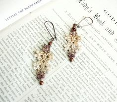 lace earrings AVA ombre ecru tinaevarenee on Etsy