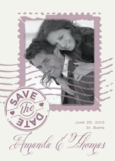 Save the Date Card with photo - Par Avion