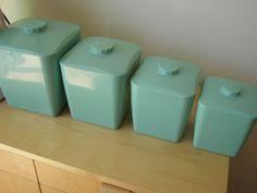 vintage aqua kitchen canisters