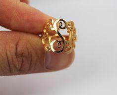 bling, monogram initial ring, gold monogramed ring, gift, fashion, gold monogram ring, ring monogram, bridesmaid, jewelri