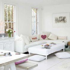 Sleek weißen Wohnzimmer Wohnideen Living Ideas Interiors Decoration