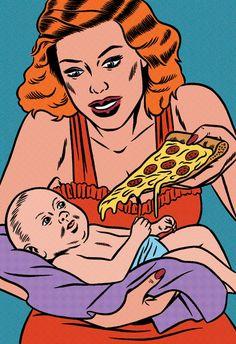 pop art, stuff, comic, food, funni, pizzas, pizza babi, kristian hammerstad, illustr