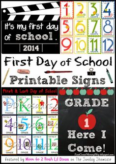 (Free) Printable First Day of School signs - capture those cute back to school photo memories
