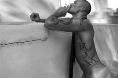 sexy beefcake hunk naked smoking tattoo