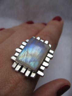 Emerald Cut Sterling Silver Rainbow Moonstone Ring