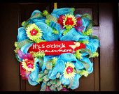 pink deco, fun wreath, bright lime, hot pink, deco mesh wreaths, limes, electric blue, blues, electr blue