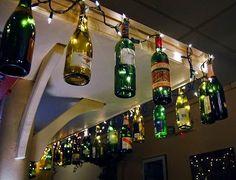 Wine bottles and Christmas lights