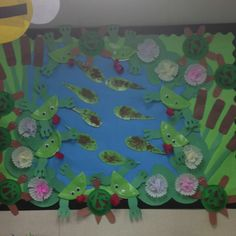 Pond bulletin board with paper plate tadpole and frogs. Paper bowl turtles and coffee filter/construction paper lily pads.