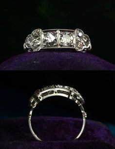 #1920s Art Deco ~0.80ctw European Cut Diamond Ring, Platinum    http://wp.me/p291tj-bE