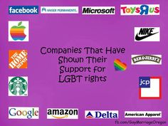Companies that have shown their support for LGBT rights...