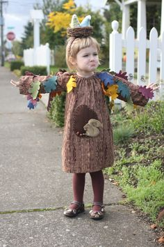 Adorable tree costume - with a removable squirrel and birds' nest headband