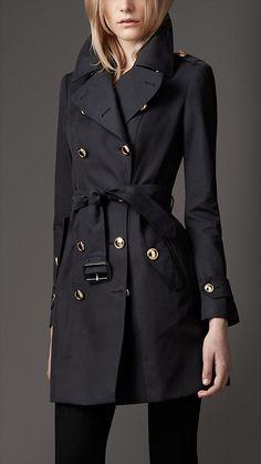 Burberry London Mid-Length Cotton Gabardine Revere Collar Trench Coat