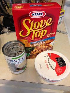 Crockpot Stovetop Chicken    5 ingredients (chicken, stovetop, cream of chicken soup, sour cream, and water).. super easy and amazing tasting!