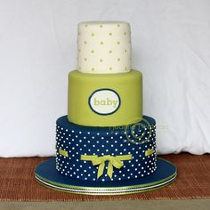 blue and green baby shower cake