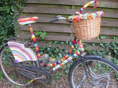 A colorful bike. What a happy sight.