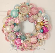 I love this vintage ornament wreath.