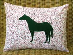 "Christmas Holiday Appliquéd Horse Pillow, Green Equine with Red & White Modern Botanical Print, 12"" x 16"""