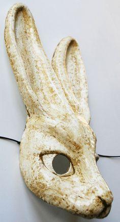 paper mache, anim mask, animal masks, mask paper, white rabbit, rabbit mask