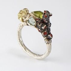 Encrusted Ring with Gold, Peridot, Aquamarine and Antique Beads : Ruth Tomlinson by amalia