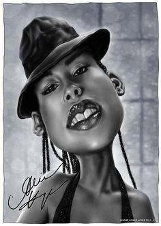 Caricatura de Alicia Keys.