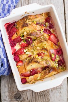 Lemon Curd with French Toast, Strawberries & Pistachios