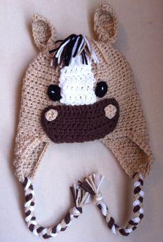 Crochet horse earflap hat