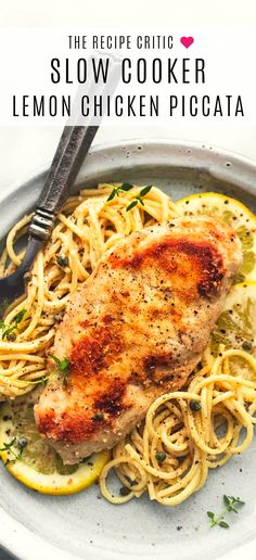 Slow Cooker Lemon Chicken Piccata is creamy lemony sauce-coated noodles with juicy lightly breaded chicken with a hint of garlic, all topped with savory capers #slowcooker #crockpot #chicken #recipe #italian