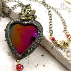 Iridescent Stained Glass Sacred Heart necklace by Parrish Relics, center is glass, rest is Polymer clay
