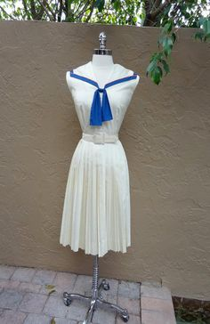 Vintage 1950's 50's Sailor Girl Nautical Polished Cotton Party Dress