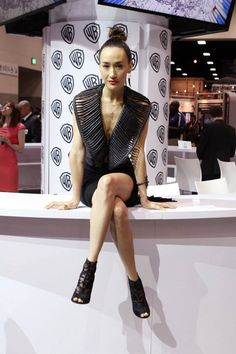 NIKITA's Maggie Q is back in black at the show's final signing in the Warner Bros. booth #CWSDCC #WBSDCC (©2013 WBEI. All Rights Reserved.)