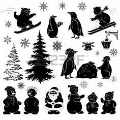 Christmas cartoon, set black silhouettes on white background  Santa Claus, fir tree, teddy bears, penguins, sportsmans, snowflakes, lantern ...