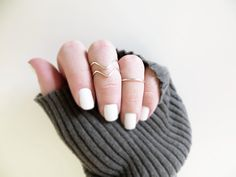 Above Knuckle Ring Set of 3 Silver or Gold Handmade Stacking Rings 2 Chevron 1 Band Sturdy Dainty